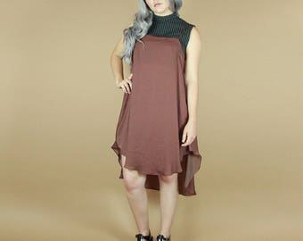 Nhiens Apron Slip Dress / Hi Low Hem / Mauve Rayon