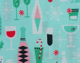 Michael Miller Holiday Party, Christmas Cocktails, Retro Fabric, Christmas Fabric, Holiday Fabric,Mint Background,  By the Yard