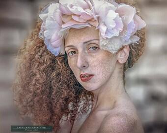 Magnolia headpiece: handmade flower headpiece with faux silk petals and fabrics. Bohemian wedding headband. Ethereal headband.