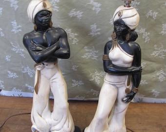 Mid Century Retro Plaster Chalk ware Genie Black Moor Nubian