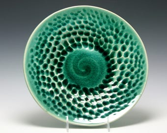 Large Handmade Ceramic Serving Bowl in Emerald Green with hand carved texture/Ceramics and Pottery