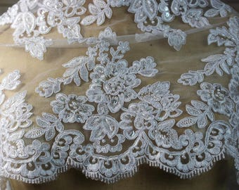 Ivory Lace Fabric with floral pattern, White Faux Beads and scalloped edges. Bridal Wear,  Dresses, Gowns, Overlay for Skirts, Costumes