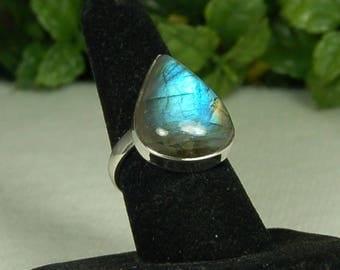 Labradorite Ring, Size 10, Bright Blue Flash, Large Pear Shape, Sterling Silver, Natural Labradorite, Spectrolite, Blue Labradorite