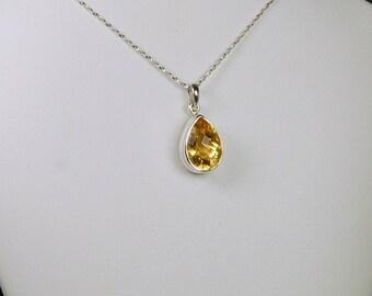 Citrine Pendant, Honey Gold Sparkle, Checkerboard Cut, Teardrop Shape, Sterling Silver, November Birthstone, Citrine Necklace