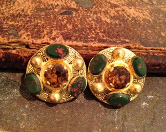 Vintage Egyptian Revival Faux Bloodstone and Citrine Glass Brooch