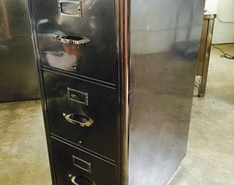 Original Restored POLISHED Up-Cycled Yawman & Erbe Art Deco Metal  Leather-Top 3-Drawer Filing Cabinet w/Lock