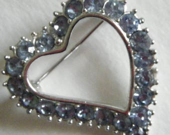 Sarah Coventry Blue Rhinestone Heart //Multi Use Jewelry Pendant or Brooch