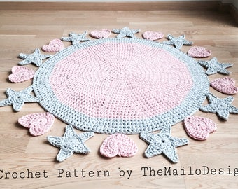 Crochet Pattern / Crochet Rug Pattern / Crochet Rug / Rug Pattern / Valentine day / Crochet Heart / Crochet Rug for Girl