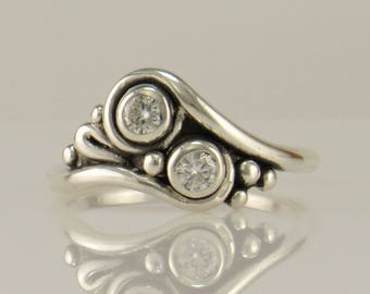 R1133- Sterling Silver Moissanite Ring- One of a Kind