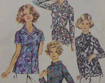 ZIP BACK BLOUSE Pattern • Simplicity 5359 • Miss 14 • Rolled Collar • Belted Blouse • Sewing Patterns • Vintage Patterns • WhiletheCatNaps