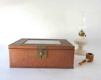 Antique Victorian Document Box Wood Interior Copper Brass Finish Glass Covered Photo Top