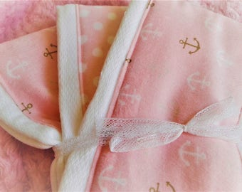 Newborn Baby Girl Pink Anchor burp cloth set of 3