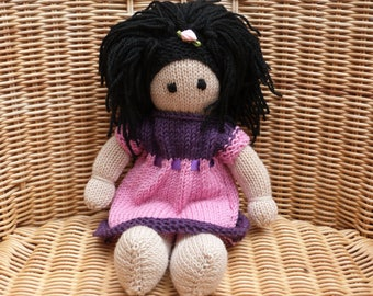 """12"""" Hand Knitted Doll Handmade Doll  Black Hair Knitted Doll Soft Merino Wool Doll with Removable Dress and Lambswool Filling"""