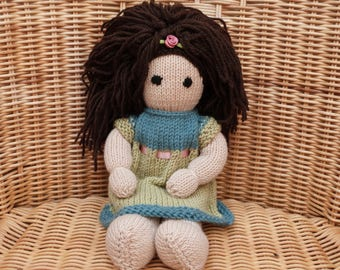 """12"""" Hand Knitted Doll Hand-Made Doll Brown Hair Doll Hand Knitted  Knitted Doll in Soft Merino Wool Doll with removable dress"""