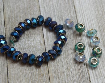 blue faceted glass large hole beads with metal core