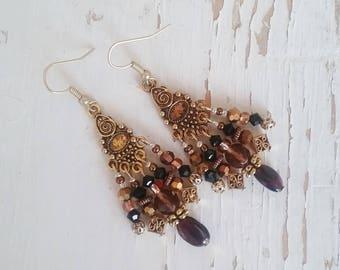 Garnet chandelier earrings, Bohemian gypsy hippie Gold garnet crystal chandelier earrings