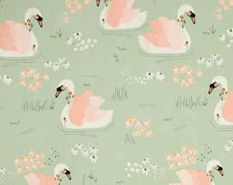 """SWANS Valance or Panel Cotton  Print Window treatment  40"""" x 14"""" 18"""" 24"""" 32"""" Long lined or unlined"""