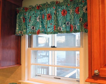 """Valance or Panel Retro Look Turquoise  ATOMIC  Print  Eames style 12"""" 14"""" 18"""" 24"""" 32"""" Lined or Unlined"""