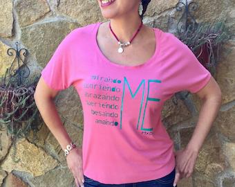 Pink Women's Scoop Neck Top, Spanish Inspirational Message, Tshirt, Handmade Unique Fashion