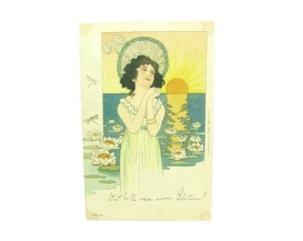 Art Nouveau Postcard. Pretty Woman, Sunrise, Water Lilies. Wiener Werkstatte. Art Publisher Emil Dotzert Frankurt. Antique 1900s Collectible