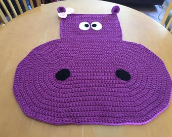 Baby Girl Hippo Rug for Nursery or Child's Room