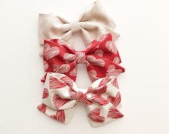 Heart Valentine's Bow - Valentine Bow Clip - Valentine Bow Headband - Heart Bows - Valentine Fabric Sailor Bow Headband -Heart Baby Headband
