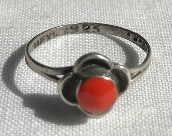 Sterling Silver Red Stone Ring-Size 5 1/4