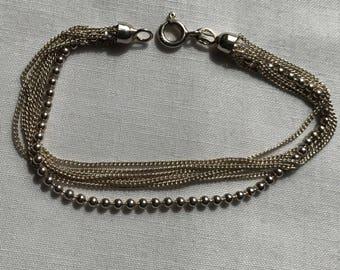Sterling Silver Seven Strand Chain Bracelet