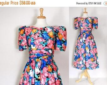 ON SALE 80s Lanz Originals Cotton Chintz Dress