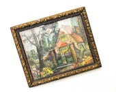 Vintage Framed Country Cottage Lithograph