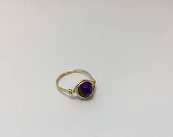 Purple and Gold Faceted Wire Wrapped Ring/Royal Purple/Plum/Gold/Shimmery/Choose Size/Glittery/Iridescent/Reflective