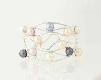 """Multicolor Freshwater Pearl Cuff Bracelet Sterling Silver Chunky Statement 7"""" G0310"""