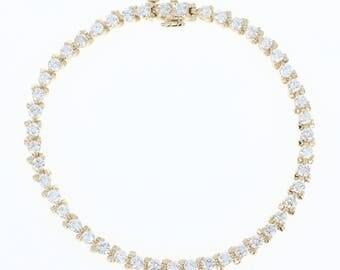 "Diamond Tennis Bracelet 6 1/2"" - 14k Yellow Gold Round Cut 3.72ctw U1626"