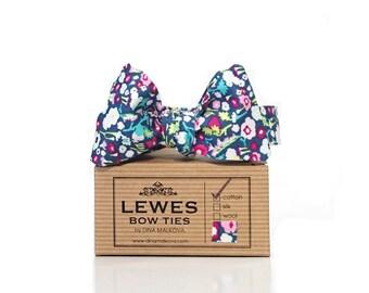 Men's floral self-tie bow tie, wedding self tie bow tie with floral print in pinks on navy blue cotton, navy blue floral cotton bow tie