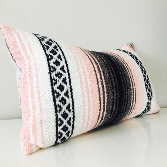 "Boho Pink Tribal Pillow Cover 14""x24"" Lumbar Cushion Pillow Ethnic Bohemian Blush Pink Grey White Black Striped Upcycled Mexican Blanket"