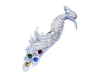 Art Deco Brooch Rhinestone Bird Of Paradise Peacock Bird Pin Pot Metal HUGE 1930s Vintage Wedding Jewelry Statement Jewelry