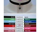 GUNMETAL JINGLE BELL Black Velvet Choker, 16 Colours, 10mm