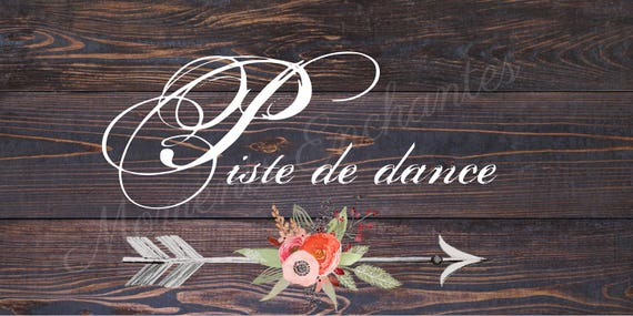 """Panneau mariage Baptême Bohème nature campagne """" Dance floor """"  flèche fleur watercolor aquarelle"""