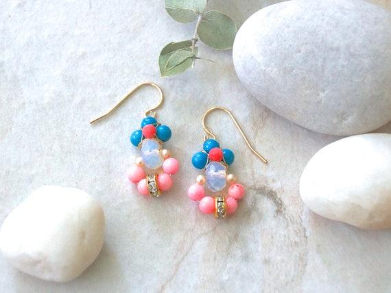 Pastel color cluster earrings