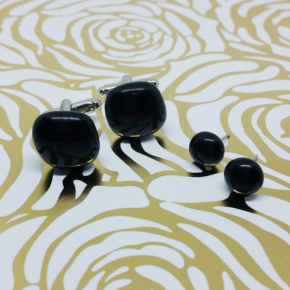 Black Matching Glass Cuff Links and Earrings, Wedding, Prom or Formal Attire