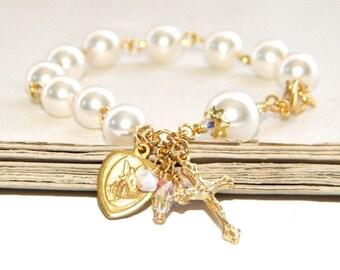 Guardian Angel Rosary Bracelet, White Swarovski® Pearl Catholic Jewelry