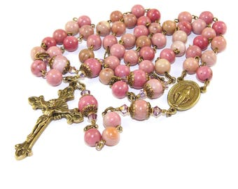 Marian Rosary, Pink Rhodonite Gemstone & Brass Catholic Woman's Rosary Beads