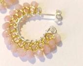 Pink Opal Mini Hoops