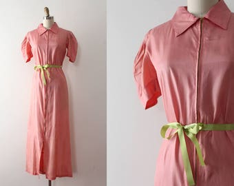 vintage 1930s dress // 30s coral zip up dressing gown