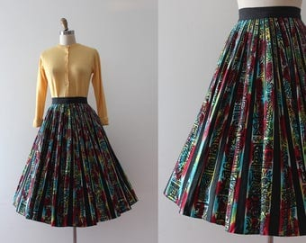vintage 1950s Mexican Skirt // 50s hand painted novelty skirt
