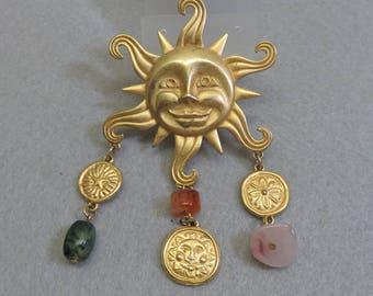 El Sol, the Sun Vintage Golden Sun Face Pin, J.J. Sun Pin