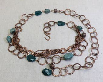 Chico's Vintage Copper and Turquoise Stone Belt, Southwestern Belt