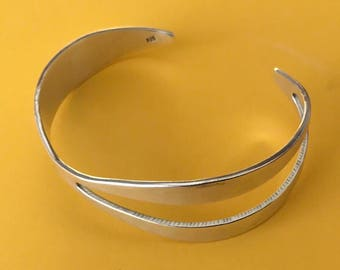Abstract Asymmetrical Sterling Silver Cuff Bracelet