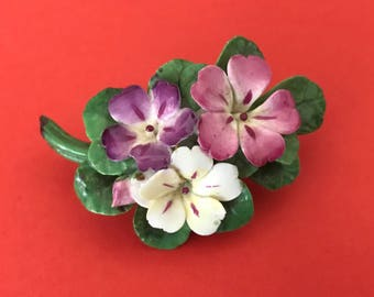 Cara China Staffordshire Made In England Porcelain Flower Brooch