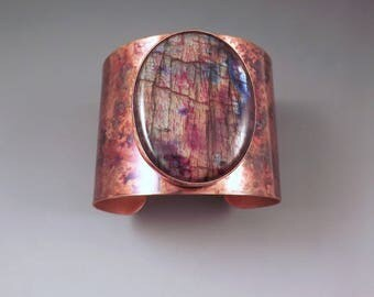 Red Rainbow Labradorite- Spectrolite-  Rainbow Patina- Copper Cuff Bracelet